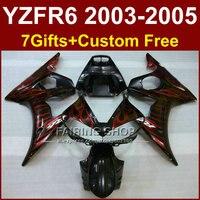 R6 запасные части корпуса для YAMAHA r6 в байкерском стиле женская обувь из блестящей Красной Обтекатели с языками пламени комплекты 03 04 05 YZF R6 2003