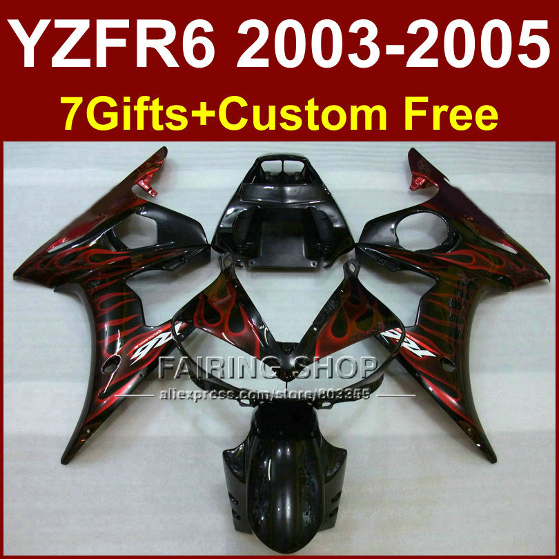 R6 body repair parts for YAMAHA r6 Motorcycle glossy red flame fairings sets 03 04 05 YZF R6 2003 2004 2005 fairing kit QI8H abs plastic speedometer gauge case cover for yamaha yzf r6 yzf r6 2003 2004 2005 tachometer