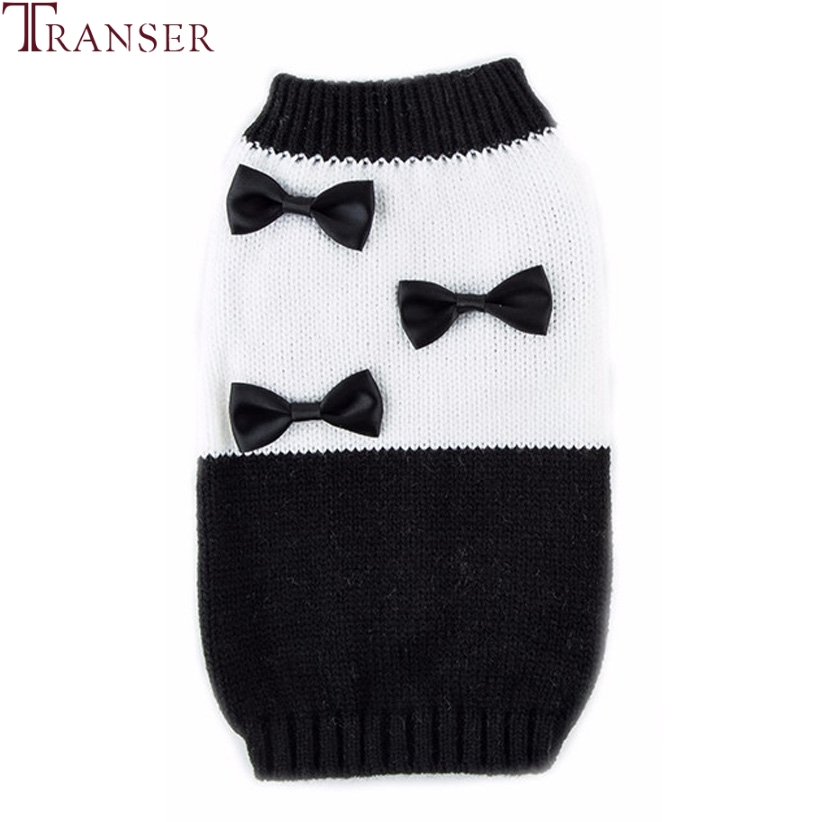 Transer Newly Design Pet Dog Sweater Black-White Patchwork Knit Winter Dogs Clothes with Bowknot 71103