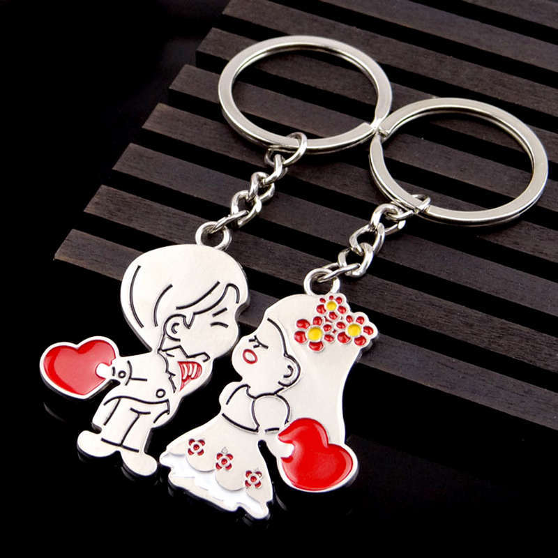 2pair Lot Original New Novelty Anime Couple Keychain Lovers Key chain Trinket Women Key Ring Jewelry Valentines Wedding Gift in Key Chains from Jewelry Accessories