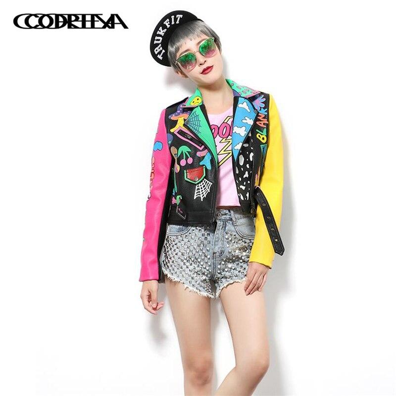 Europe America Women Fashion graffiti Print Faux   Leather   Jacket Coat Turn-down Collar PU Motorcycle Punk Sexy Short Outerwear