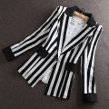 High Quality 2015 Autumn New new Korean Slim small suit Jacket Women Black And White Striped Blazer feminino Plus size M-XXXL