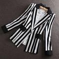 High Quality 2015 Autumn New new Korean Slim small suit Jacket Women Black And White Striped Blazer feminino Plus size M-XXXL