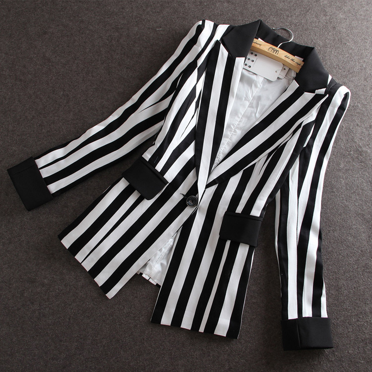 Compare Prices on Plus Size Black and White Striped Blazer- Online ...