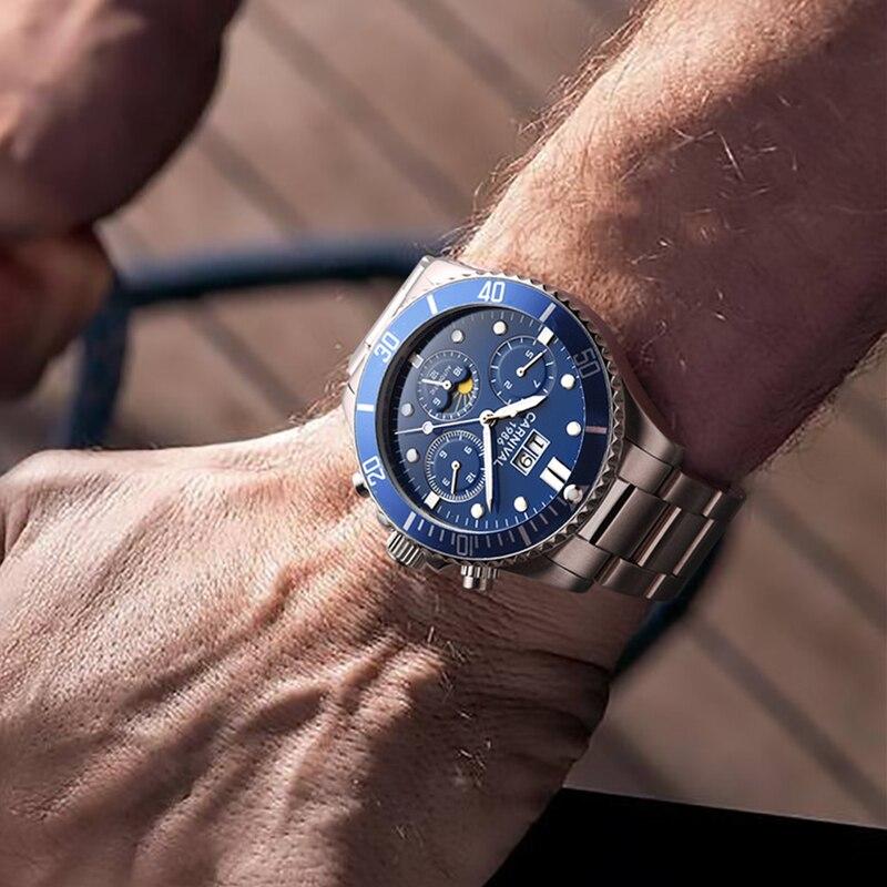 Карнавал Moon phase автоматические механические часы Для мужчин полный стали водонепроницаемый Для мужчин часы reloj hombre erkek коль saati relogio
