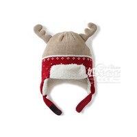 Yeni 2015 kış bebek şapka bebek sıcak Artı kadife çocuklar aksesuarları kızlar için kapaklar/erkek Noel geyik earmuffs örme Şapka