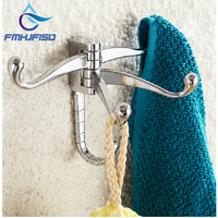 Free Shipping Wholesale And Retail Promotion NEW Chrome Brass Wall Mounted Bathroom Clothes Hook Hangers For