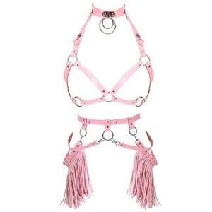 Image 2 - Harajuku Boho Tassel Pink Leather Harness Bra Women Stockings Garter Belt Strappy Top Cage Plus Size Lingerie set Rave Festival
