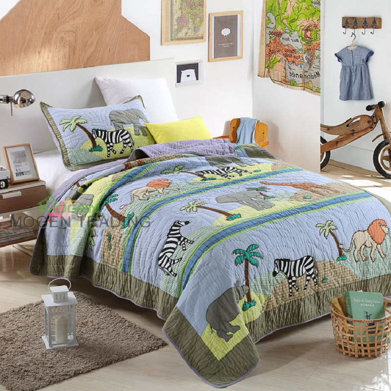 Captivating CHAUSUB Cute Kids Patchwork QUILT Set 2PC Washed Cotton Child Handmade  Applique Quilts Bed Sheets Zoo Design Bedding Coverlets In Quilts From Home  U0026 Garden ...
