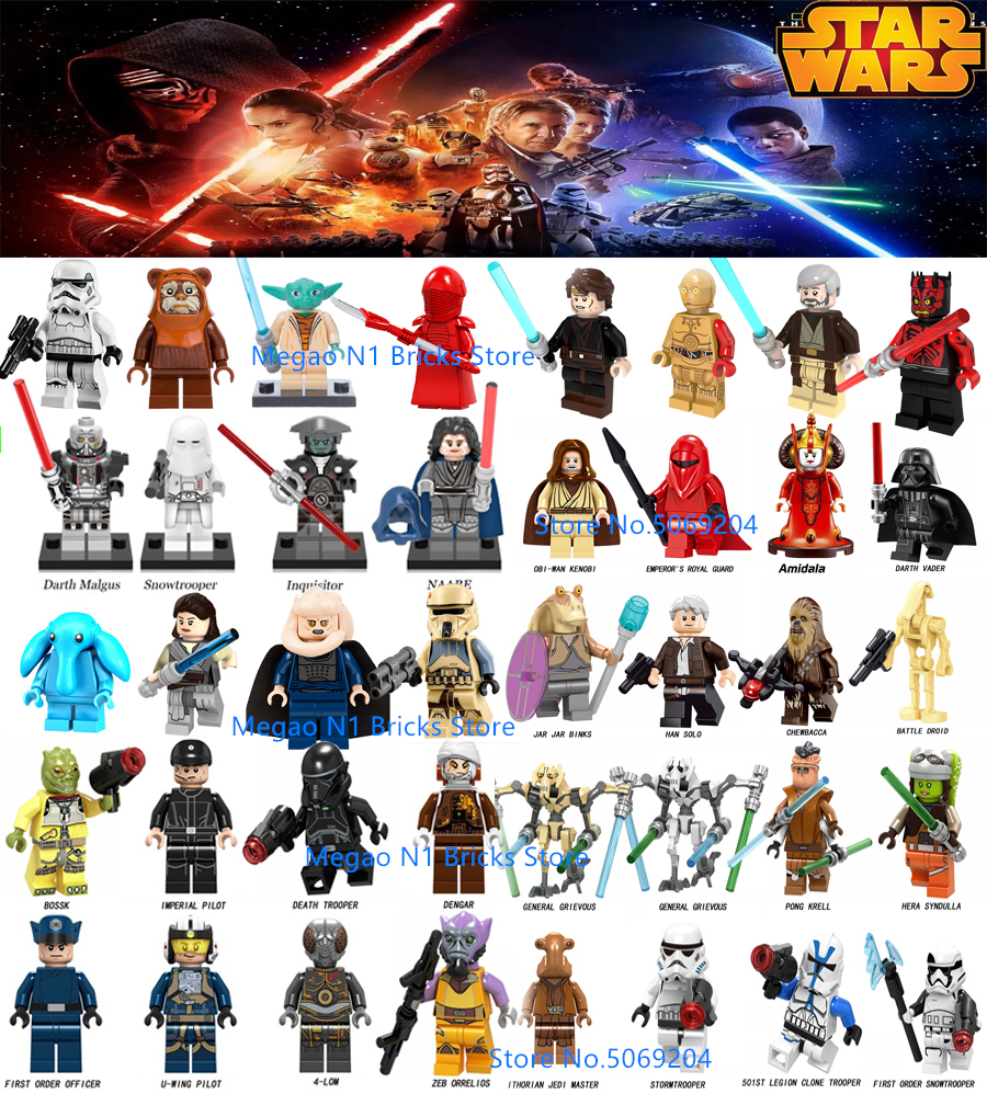 STAR WARS Luke Leia Starwars Darth Vader Maul Sith Malgus Han Solo Jawas C3po Ewok Yoda Rey Building Blocks Toys For Children
