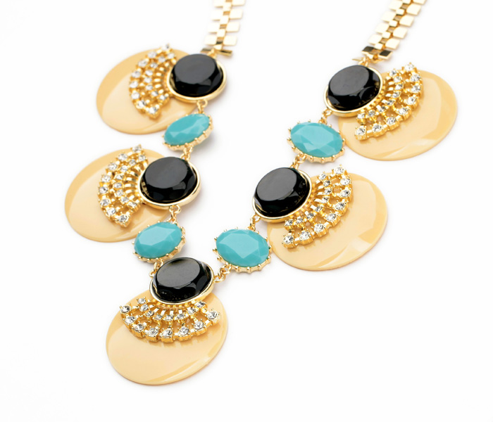 Newest Light Gold Color 5 Blue Round Disks With Rhinestones Wholesale Qingdao Factory Best Quality Necklace