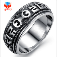 Retro Fashion Man Turn of Luck Ring High Quality 316L Stainless Steel Domineering Rock Band Rings for Men Free Shipping ZGJ441