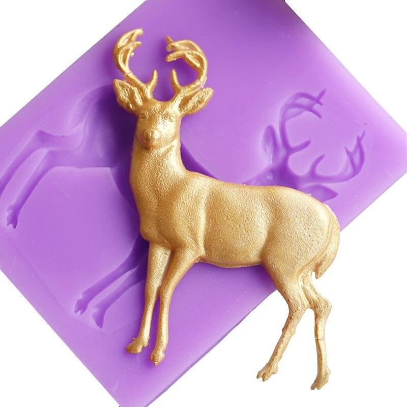 3D Deer Deer Silicona Molde de Pastel de BRICOLAJE de Navidad Fondant Gumpaste C