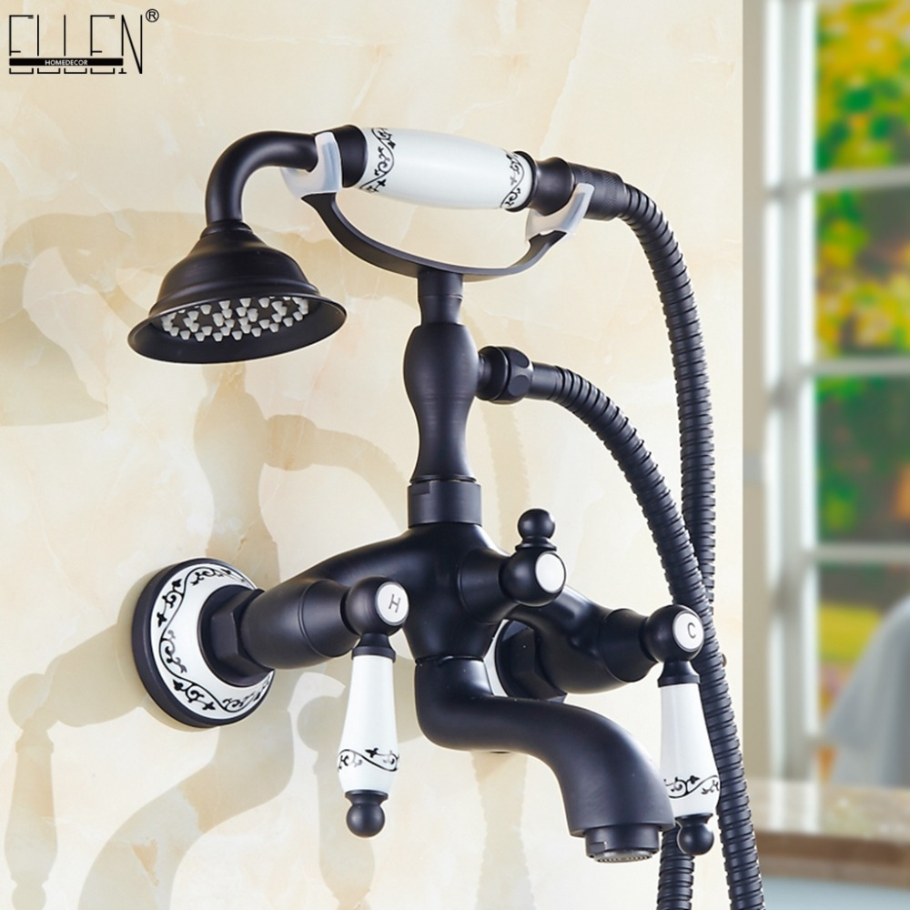 Bathtub Faucets Black Brass Shower Faucets Dual Handle Wall Mounted Bath Shower Faucet With Handheld Showers EG3401BBathtub Faucets Black Brass Shower Faucets Dual Handle Wall Mounted Bath Shower Faucet With Handheld Showers EG3401B
