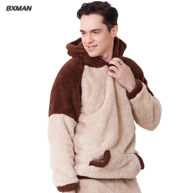 BXMAN Brand Men's New Pijamas Hombre Casual Cartoon Pajamas Polyester Hooded Collar Full Sleeve Flannel Pajamas For Couples 72