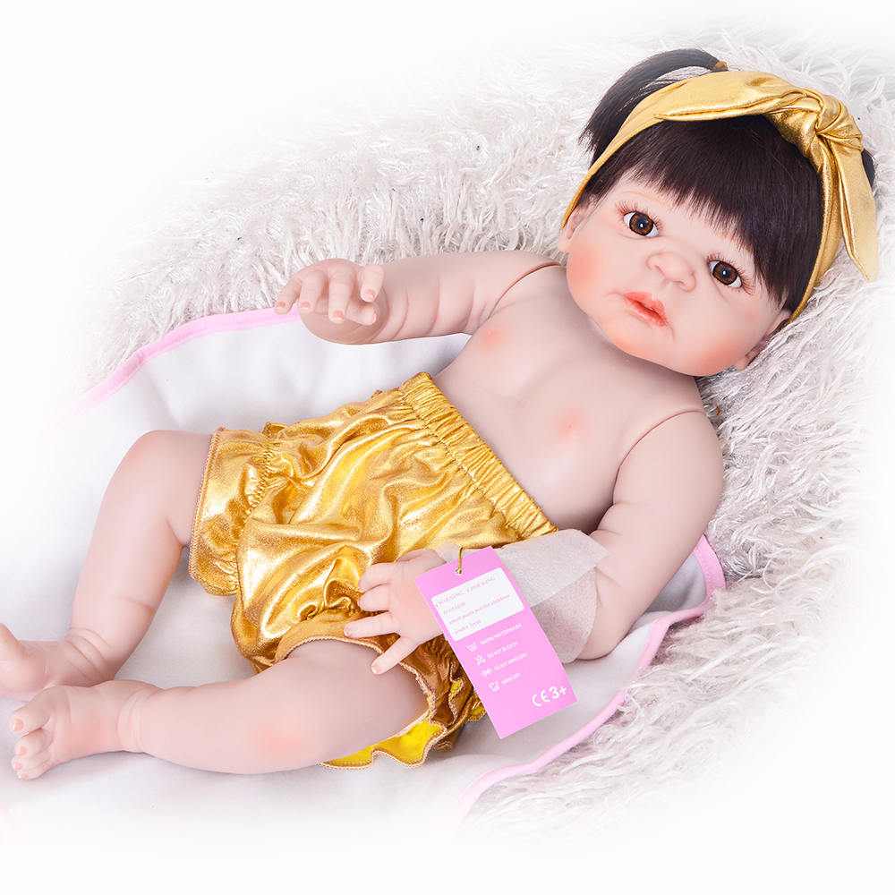 New Arrival Reborn Baby Doll Waterproof 57 cm 23'' Realistic Babies Full Vinyl Dolls Girl or Boy Wear Gold Pants Kids Xmas Toys цена