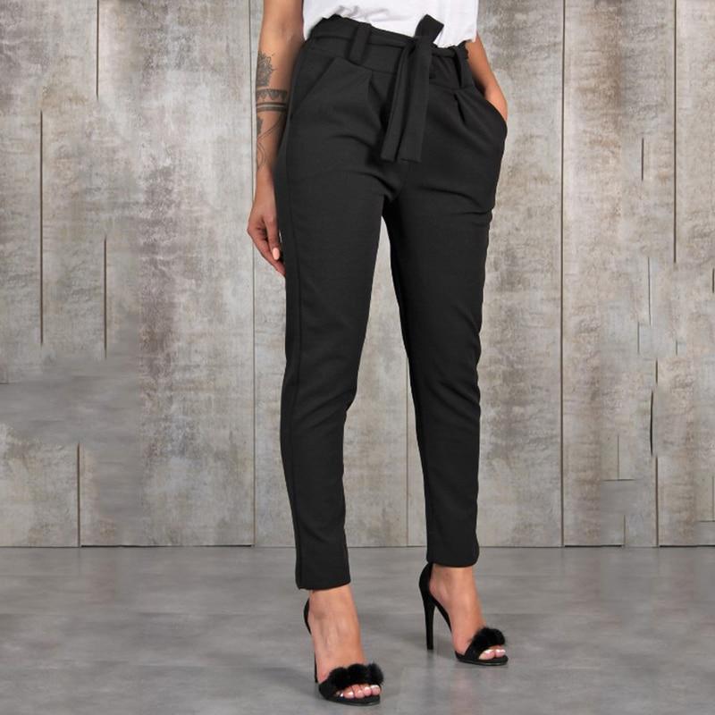 GAOKE Stylish Pant Pockets Fashion Basic Bandage Knitted Women High Waist Slim Streetwear Capris Female Chiffon Casual Pants