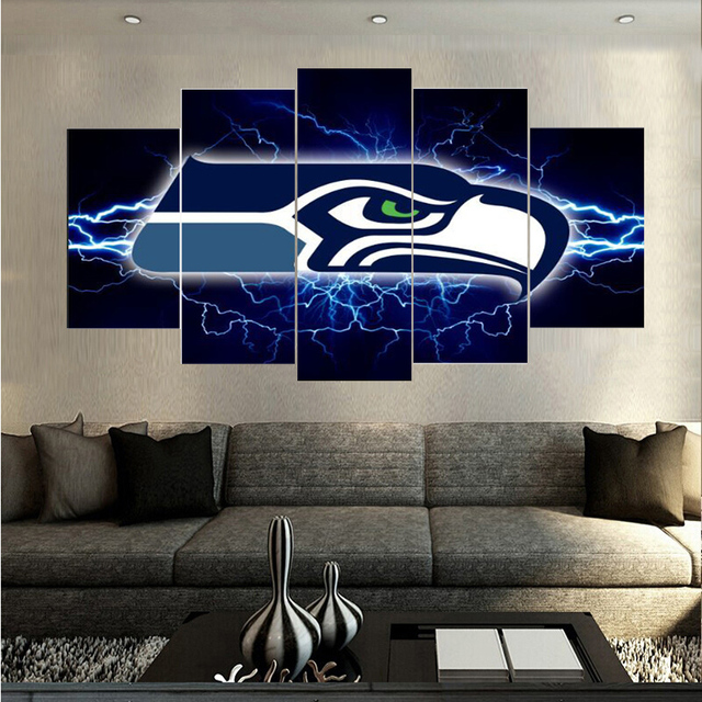 5 Pcs New Arrivals Seattle Seahawks Sports Team Canvas Painting ...