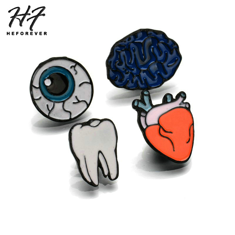 Cartoon Color Drip Oil Human Organs Eye Teeth Style Brooch for Women 4PCS/Set Punk Fashion Jewelry KB046