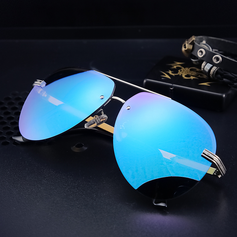 Angcen Men Polarized Sunglasses Metallique Rimless Gradient lunettes Men driving glasses Men brand designer UV400
