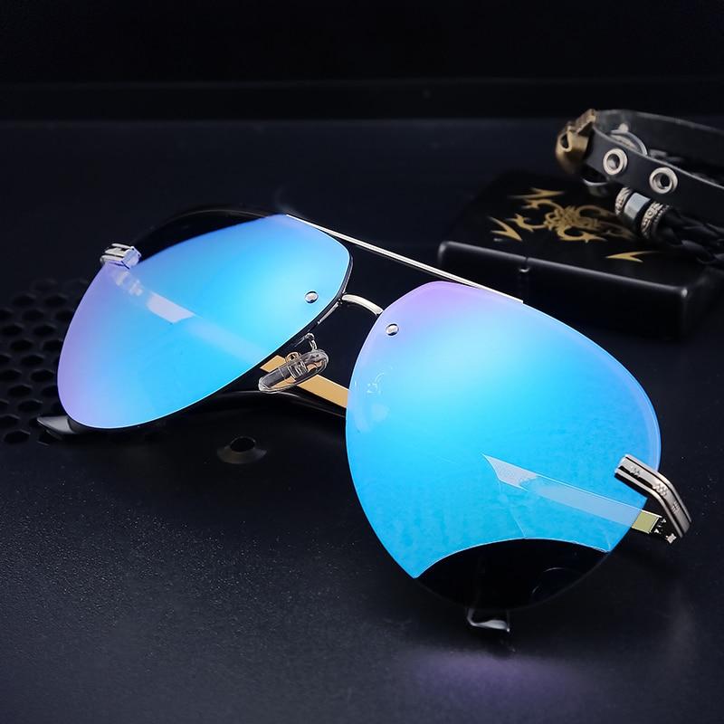 Angcen homem polarizado óculos de sol metallique sem aro gradiente lunettes homem óculos de condução marca designer uv400