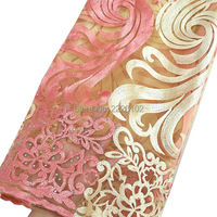New 2016 Water Soluble Lace Embroidery African Cord Lace Peach Swiss Voile Switzerland French Nigerian Lace