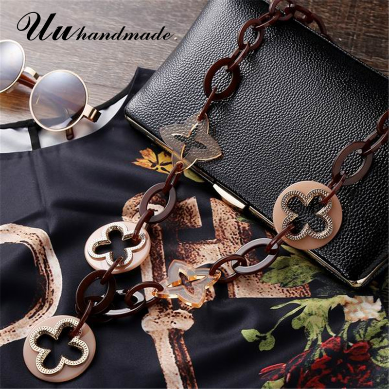 Fashion maxi necklace colar feminino punk jewelry acrylic collares etnicos long cross pendant for women statement