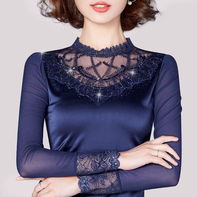 d7b1f98e80b69 Missoov brand designer spring autumn style blouse women clothing Sexy lace  blouses Net yarn shirts blusa