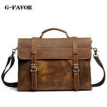 G-FAVOR Luxury Real Genuine Leather Men Bags Business Laptop Briefcase Tote Bag Multi-fuction Handbags Men's Travel Shoulder Bag