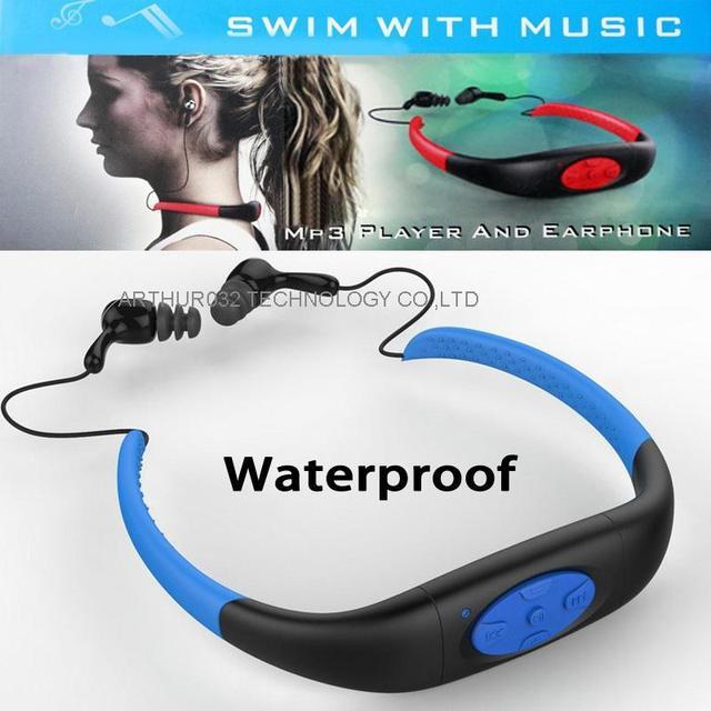 DHL 8 GB Impermeabilizan MP3 Music Player Submarino Swiming Surf Buceo Deportes Neckband Auricular Estéreo Headset Manos Libres Radio FM