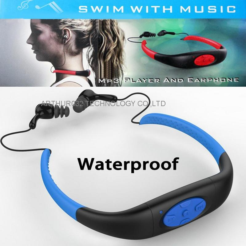 DHL 8GB Waterproof MP3 Music Player Underwater Swiming Surfing Diving Neckband Sports Stereo Earphone Headset Handsfree