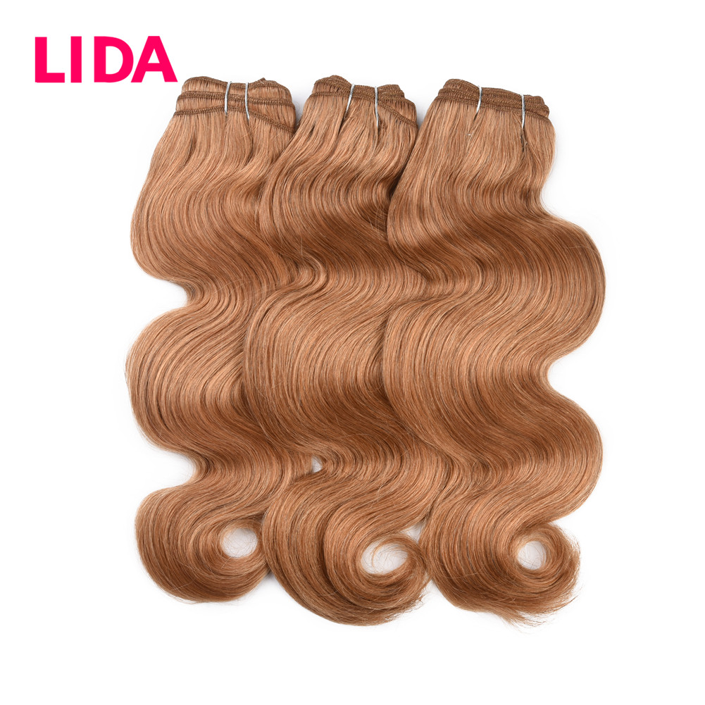 LIDA Human Hair Body Wave Bundles Light Color Brazilian Hair Weaving Non Remy Body Wave 3 Pieces Deal