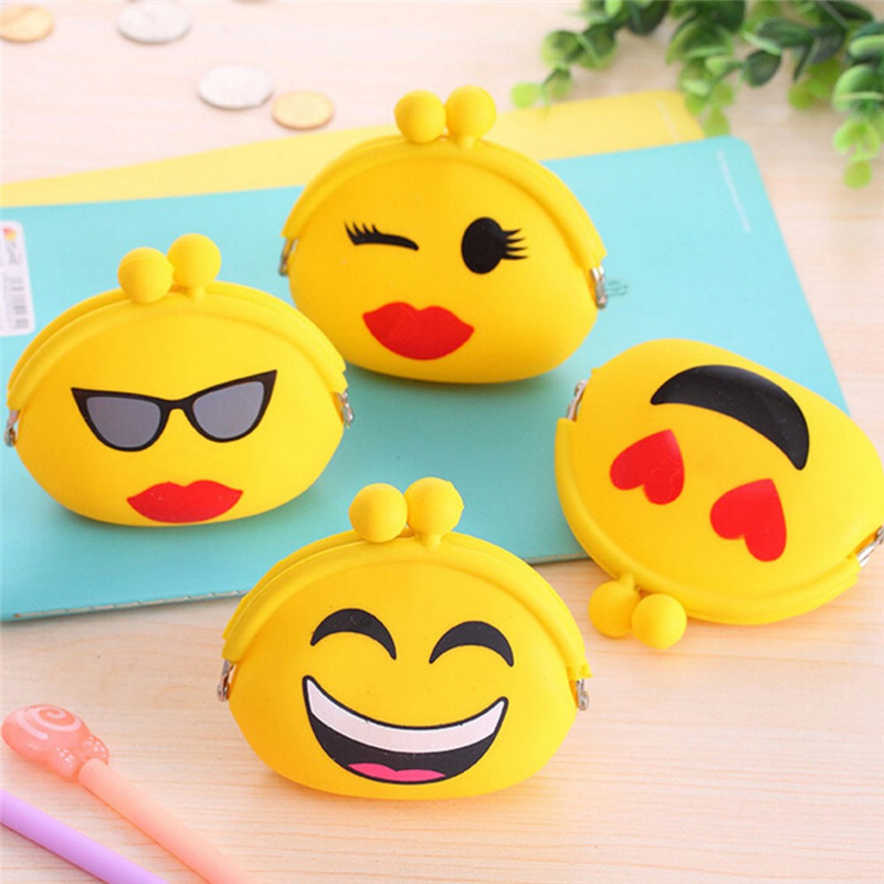 2016 New Emoji Coin Purse Silicone Wallet Change Bag Female Women Mini Key Case Kids Children Silica Gel Purses Pouch Gift