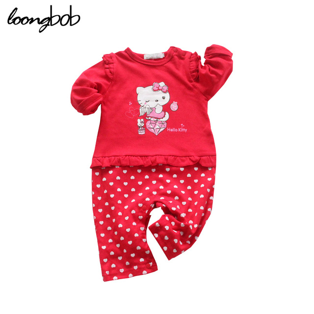 9bdd5ab51 Baby Girl Ruffled Romper Hello Kitty Character Cartoon Printed Modelling  Newborn Clothes Princess Polka Dot Cute