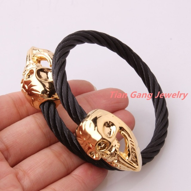 New Arrival 316L Stainless Steel Black Tone Cable Wire Chain Twisted Gold Skull Cuff Bangle Mens Boys Bracelet Christmas Gift