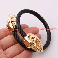 New Arrival 316L Stainless Steel Black Tone Cable Wire Chain Twisted Gold Skull Cuff Bangle Mens