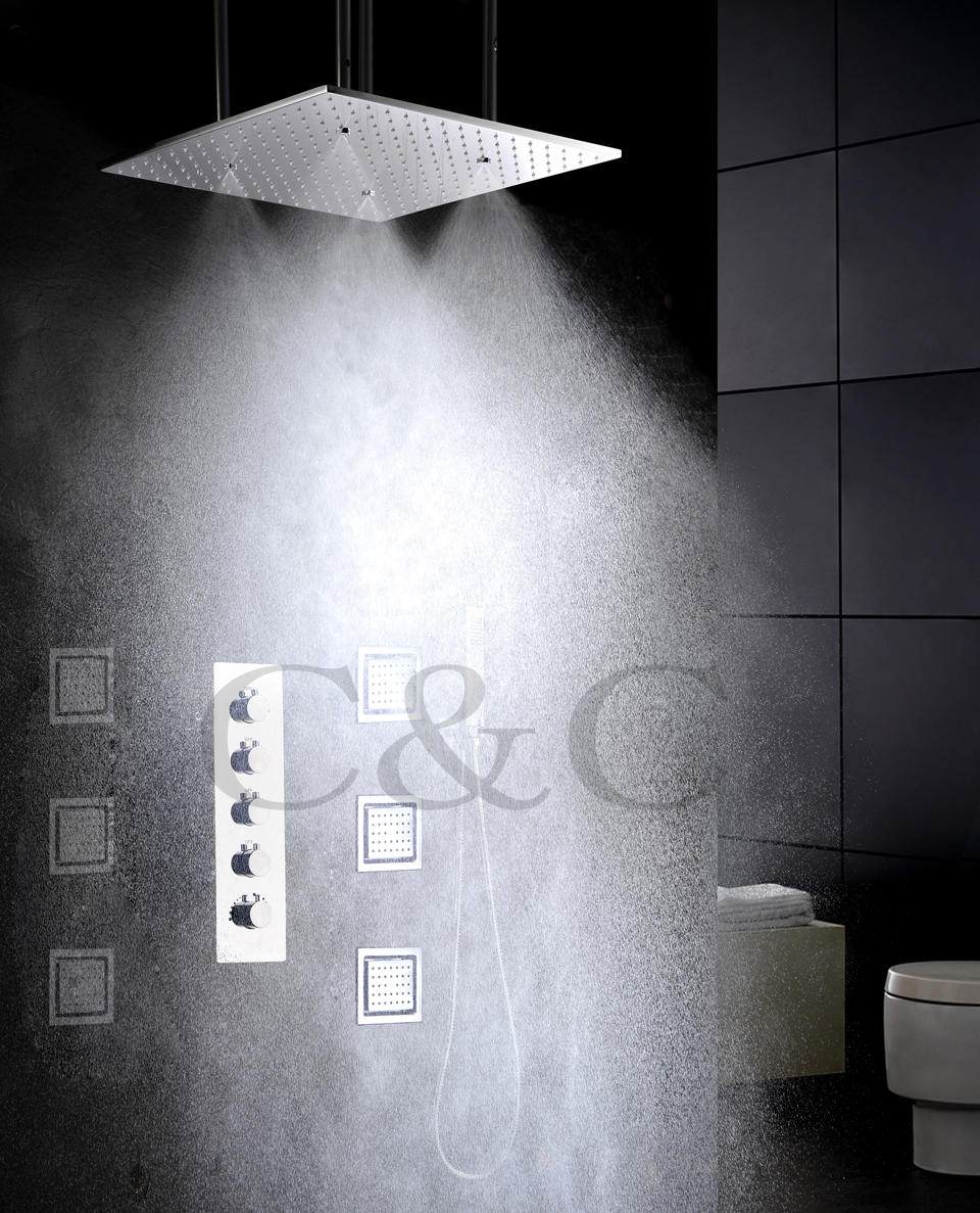 4 Water Functions Work Together Or Separately 20 Inch Atomizing And Rain Shower Head Rainfall Bathroom Faucet Set