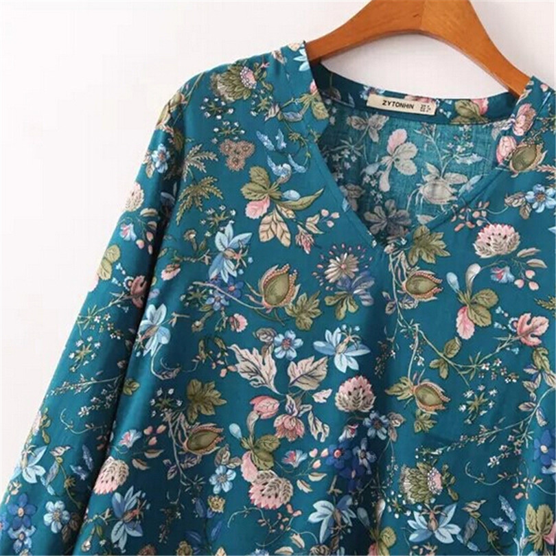 s173 V Ropa Flores Impreso Deep Para Camisas Femininas Tiempo Blusas Blue Casual White Libre El Cuello Irregular Informal Floral S173 88rnUTxw