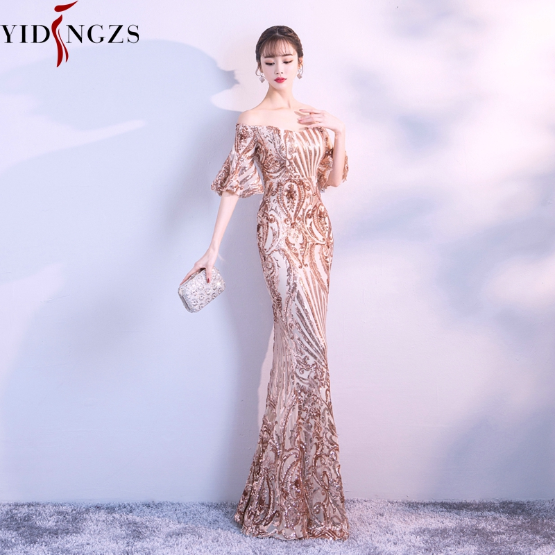 Image 5 - YIDINGZS New Flare Sleeve Black Gold Heavy Sequins Evening Dress 2019 Boat Neck Formal Evening Party Dress YD260-in Evening Dresses from Weddings & Events