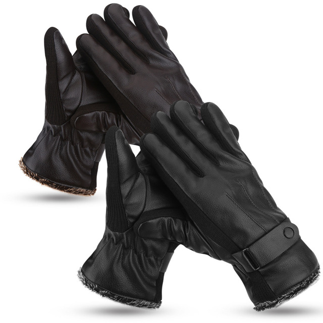 1 Pair/Set Motorcycle Gloves Men Male Winter Cycling Bicycle PU Full Finger Windproof Glove Winter Warm Guantes Protective Moto
