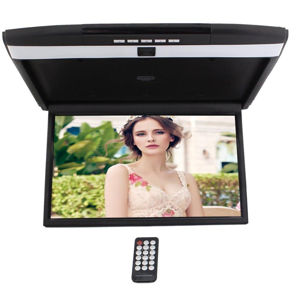 17 inch Digital TFT Monitor Car Roof Mount Display for cars Flip Down Monitor FM Modulator Overhead player USB SD 2 Video input