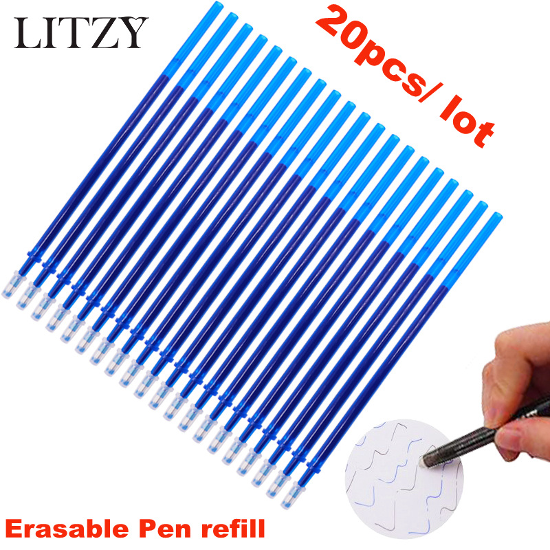 Erasable Pen Refill 20 Pcs/Set Office Gel Pen 0.5mm Rod Magic Erasable Pen Blue/Black Ink School Stationery Writing Tool Gift