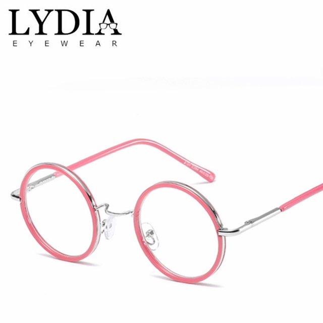 9406268be2 Retro Women Pink Round Eyeglasses Frame Brand Designed Vintage Clear Glasses  Optic Frames Female Oculos Gafas De Sol L8104CJ