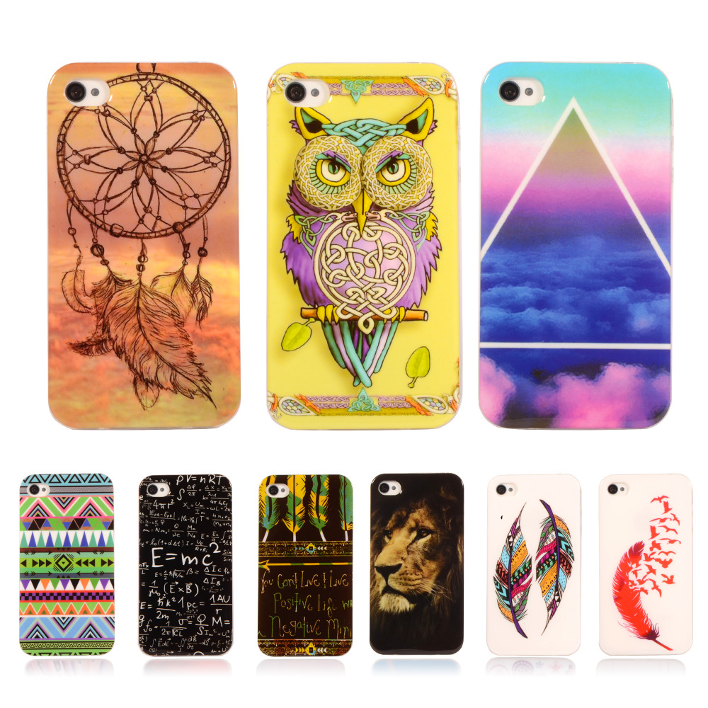 For iPhone 4s Case Fashion Cartoon TPU Silicone Soft Cover Lion tiger Retro Case For Apple iPhone 4 S 4G 3.5''Phone Cases