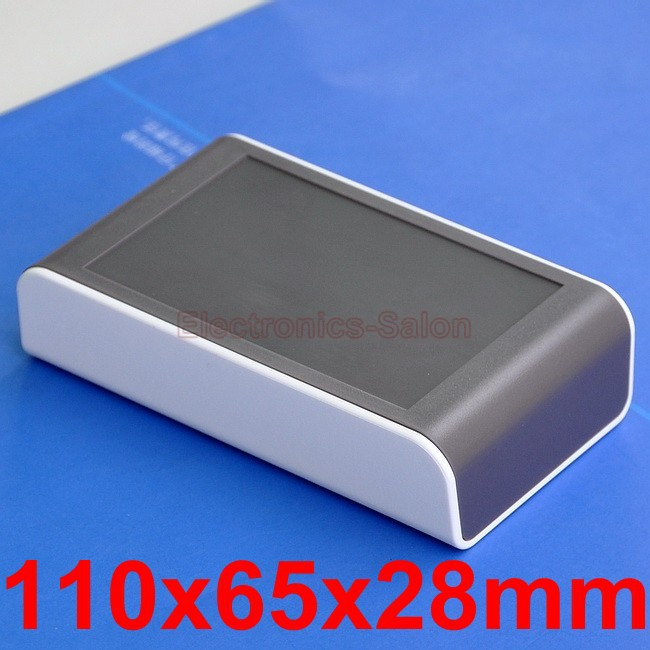Desktop Instrumentation Project Enclosure Box Case, White-Brown, 110x65x28mm.
