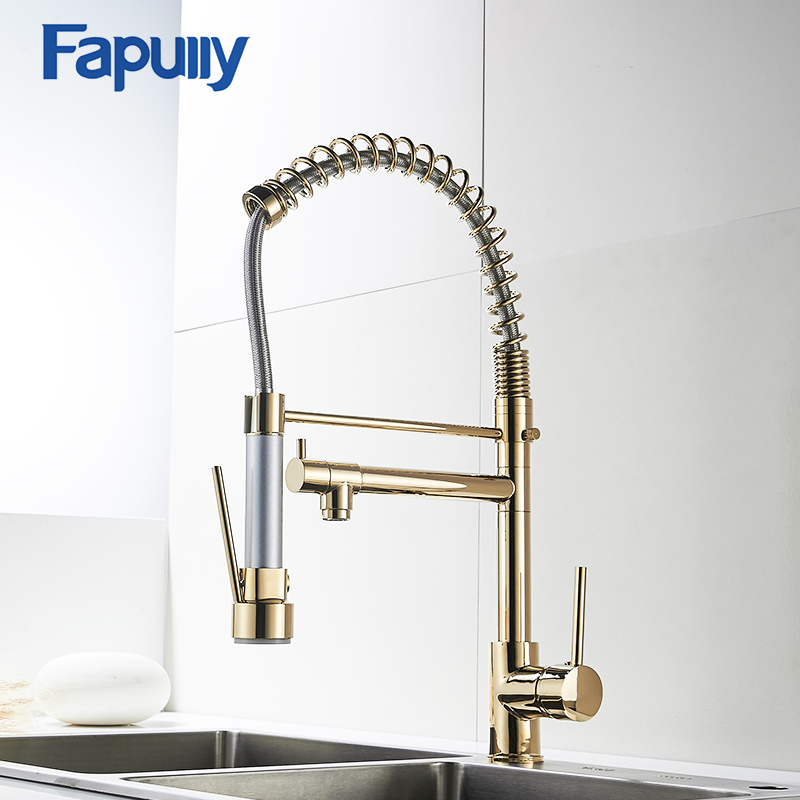 Fapully Gold Kitchen Faucet Sprayer Single Handle 360 Degree Rotating Cold Hot Water Mixer Sink Tap