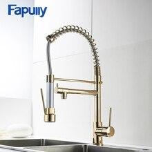 Fapully золото смеситель для кухни опрыскиватель Одной ручкой 360 градусов вращающийся холодной и горячей воды смесителя раковина