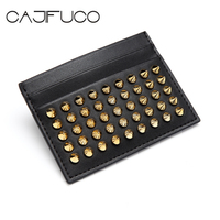 CAJIFUCO Gold Rivet Porte Carte Genuine Leather Credit Card Holder Studs Magic Wallet Women Studded Coin Purse Business Man Card