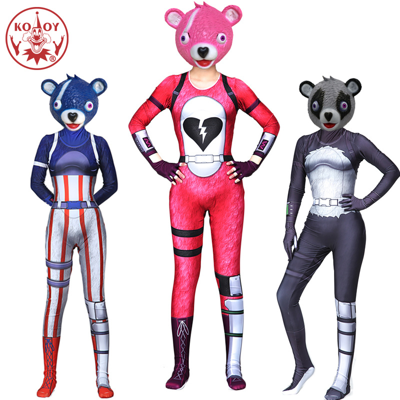 Adult Fortnited women cosplay costume Jumpsuits Fortress night Battle Royale Game panda halloween costume Bodysuit latex mask