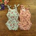 Algodão Verão Roupas de Bebê Bolha Romper Do Bebê Floral Pom Pom Meninas Sunsuit Romper do bebê Recém-nascido As Meninas Da Criança Roupa Do Bebê